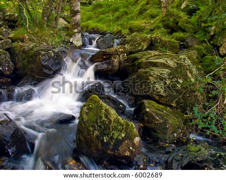 Waterfall in a forest in Scotland - stock photo