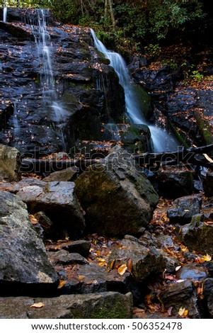Waterfall in autumn in Smoky Mountains National Park in Tennessee and North Carolina