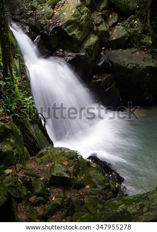 waterfall in Borneo rainforest