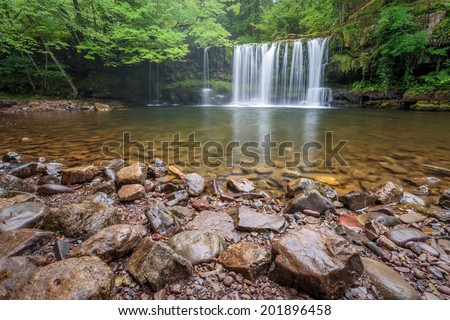 Waterfall in Brecon Beacons National Park, Wales. - stock photo