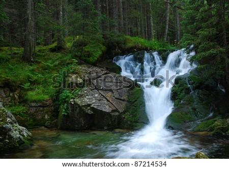 Waterfall in Carpathian Mountains - stock photo