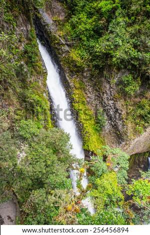 Waterfall in Cascades route, Banos, Ecuador - stock photo