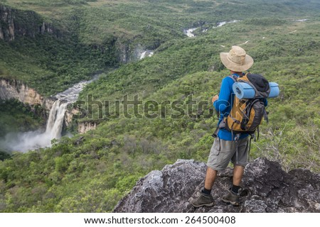 Waterfall in Chapada dos Veadeiros National Park -  Brazil - stock photo