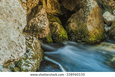 Waterfall in countryside of Iraqi city of Erbil - stock photo