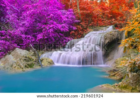 Waterfall in Deep forest at Erawan waterfall National Park, - stock photo