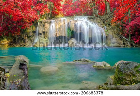 Waterfall in Deep forest at Erawan waterfall National Park, Thailand. - stock photo