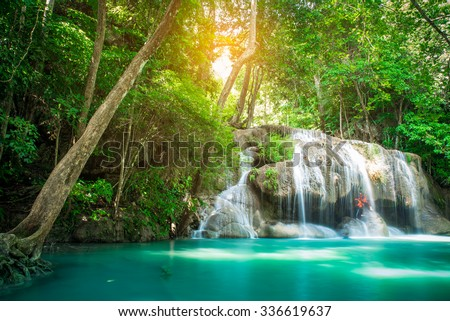 Waterfall in Deep forest at Erawan waterfall National Park, Thailand