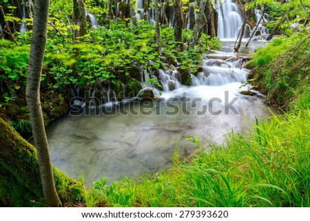 waterfall in deep forest in Plitvice national park-Croatia - stock photo