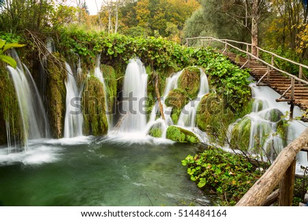 waterfall in deep forest in Plitvice national park-Croatia