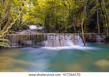 Waterfall in deep forest kanjanaburi thailand.