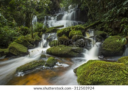 Waterfall in deep forest Mhundaeng waterfall or Man Daeng in phu hin rong kla national park, Phitsanulok province asia southeast asia Thailand
