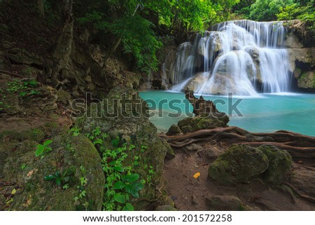 Waterfall in deep forest, national park in Thailand - stock photo