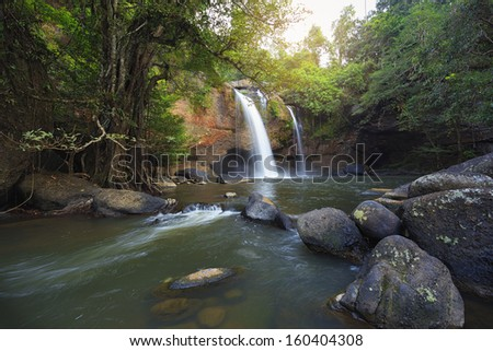 Waterfall in deep forest of Kaoyai,Thailand - stock photo