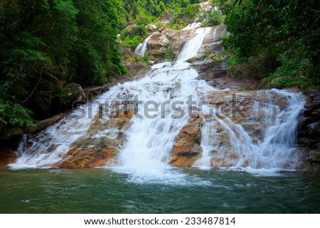 waterfall in deep forest of Thailand  - stock photo