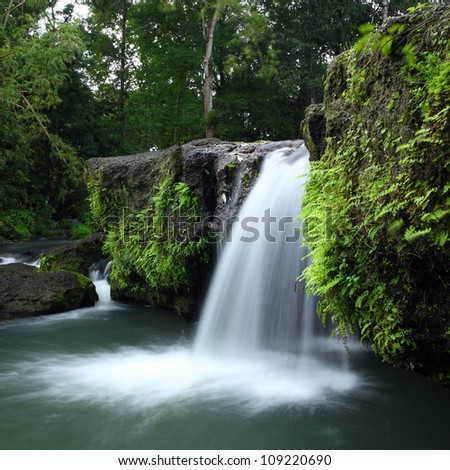 Waterfall in deep forest, thailand - stock photo