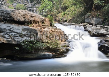 waterfall in deep forest,Thailand - stock photo