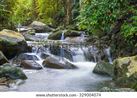 Waterfall in deep rain forest jungle. Krok E Dok Waterfall Saraburi, Thailand. - stock photo