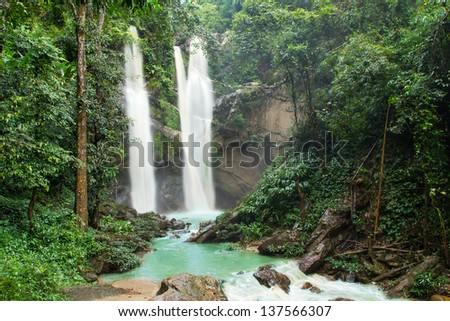 Waterfall in deep tropical forest
