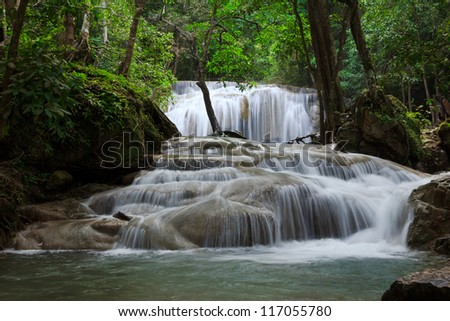 Waterfall in Erawan national park, level 1, Kanchanaburi