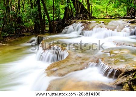 Waterfall in forest at Kanchanaburi, Thailand  - stock photo