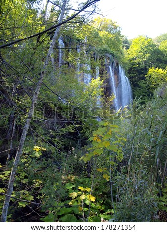 Waterfall in forest. Plitvice lakes, Croatia. UNESCO site - stock photo