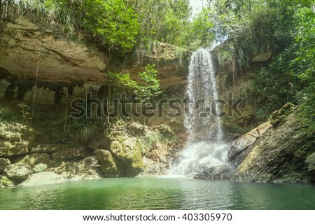 Waterfall in Gozalandia, Puerto Rico - stock photo