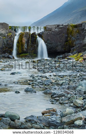 Waterfall in Iceland, landscape with beautiful nature. Vertical view