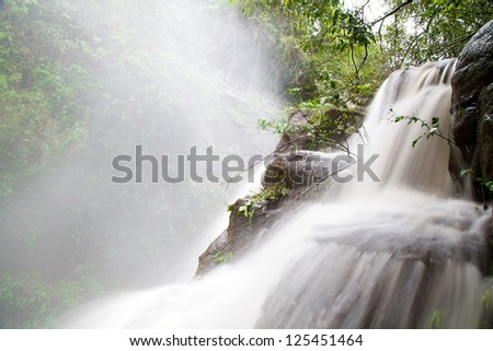 Waterfall in Iguazu National Park, Argentina with Water Blurred - stock photo