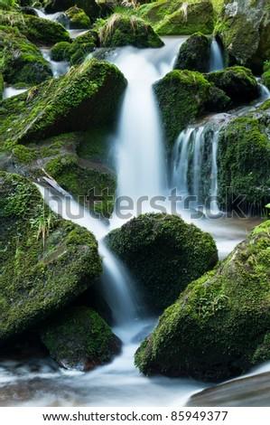 Waterfall in Jeseniky mountain, picture taken in the Czech Republic. - stock photo