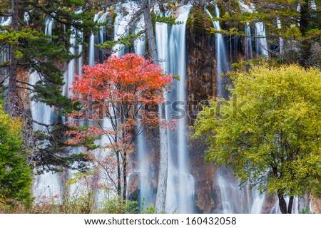 Waterfall in Jiuzhaigou Valley national Park  - stock photo
