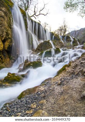 Waterfall in Jiuzhaigou valley, Sichuan province, China   - stock photo