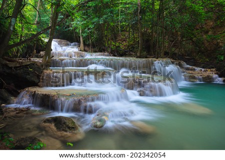 Waterfall in Kanjanaburi Thailand (Huay Mae Kamin waterfall Nation Park) - stock photo