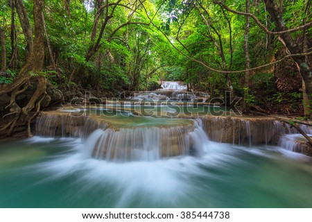 waterfall in Kanjanaburi Thailand (Huay Mae Kamin waterfall Nation Park)