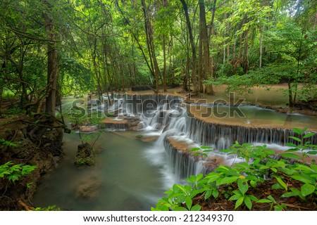 Waterfall in Kanjanaburi Thailand (Huimaekhamint waterfall Nation Park) - stock photo