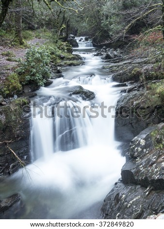 Waterfall in Kill-arney just after sunset light - stock photo