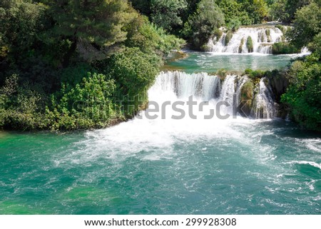 Waterfall in KRKA National Park - stock photo