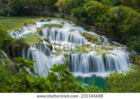 Waterfall in KRKA National Park, Croatia - stock photo