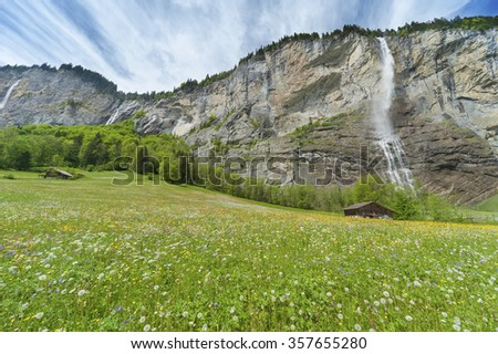 Waterfall in Lauterbrunnen valley in Bernese Alps, Swiiss