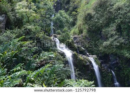 Waterfall in Maui Hawaii - stock photo