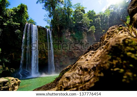 Waterfall in Mexico - stock photo