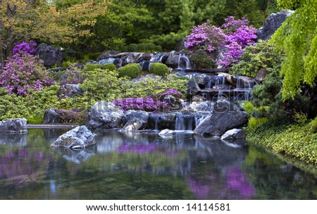 Waterfall in Montreal's Japanese botanical gardens