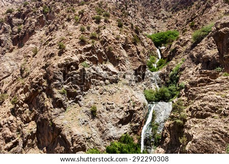 Waterfall in mountain Ourika , in the Grand Atlas mountains in Morocco , north africa - stock photo