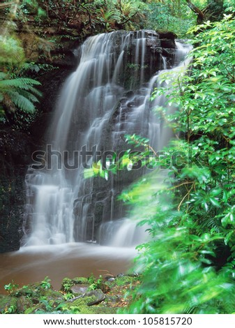 Waterfall in New Zealand - stock photo