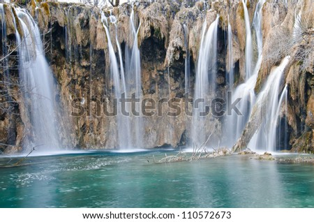 Waterfall in Plitvice Lakes national park, Croatia