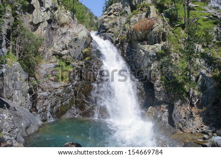 Waterfall in Posets-Maladeta Natural Park, Benasque Valley