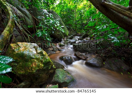 waterfall in rain forest in asia forest. - stock photo