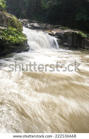 Waterfall in slow shutter speed. Vachiratharn waterfall, Inthanon national park, Chiangmai, Thailand. - stock photo