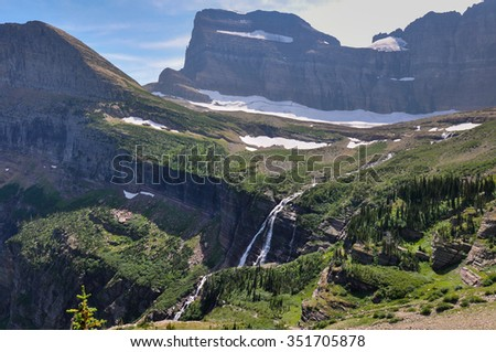 Waterfall in spectacular Glacier National Park, Montana, USA. - stock photo