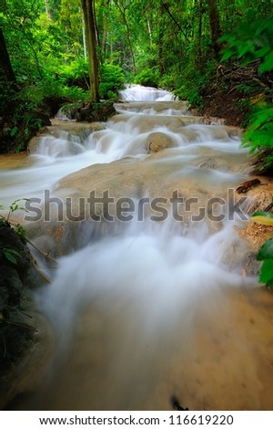 Waterfall in spring season located in deep rain forest jungle.
