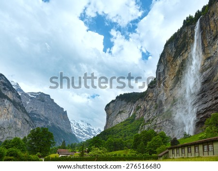 Waterfall in summer mountain (Switzerland)